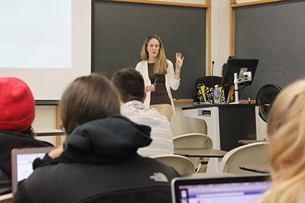 "Lauren Feldman speaks to her class about ""Obama Girl."" Photo by Jessica Lee."