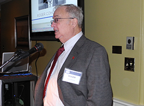 "Roger Cohen accepting the Livingston Legacy award for his role in ""strengthening the college's mission."" Photo by Elizabeth Fuerst"