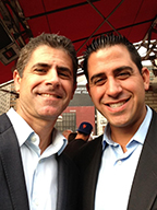 CHANCE MEETING: Jim Ornstein, left, J/MS 1993, vice president of the William Morris Endeavor Agency, and Harry Cicma, J/MS 2002, sports reporter for WNBC-4 in New York, at an event in Manhattan honoring Andy Murray, the Wimbledon tennis champion.