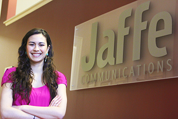 Heather Brookhart, J/MS 2010, has grown in her job at Jaffe Communications. Photo by Gina Rizza